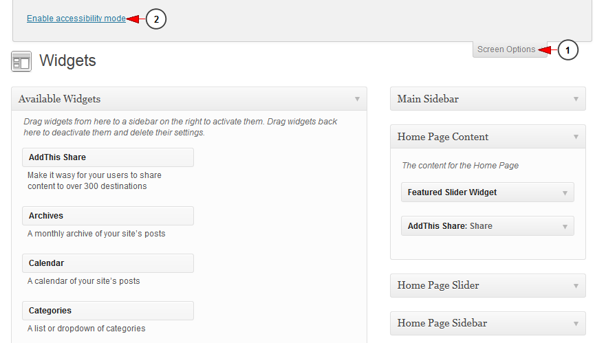 enable disable wordpress widgets