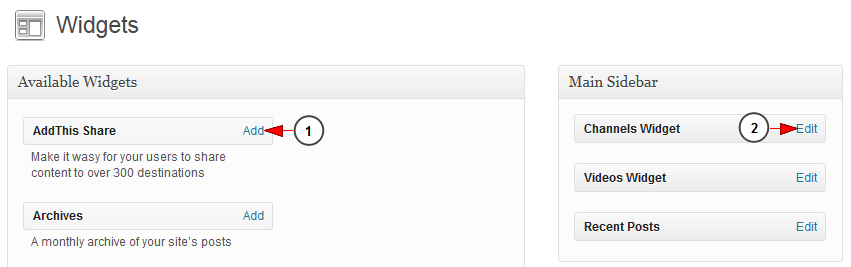 enable wordpress widgets